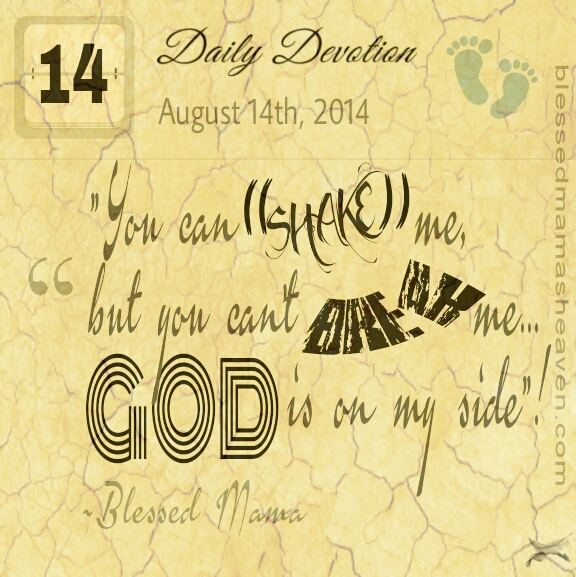 Daily Devotions • August 14th • You can shake me, but you can't break me...God is on my side!