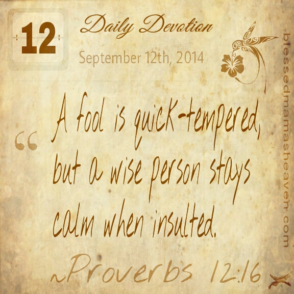 Daily Devotion • September 12th • Proverbs 12:16 • A fool is quick-tempered, but a wise person stays calm when insulted.